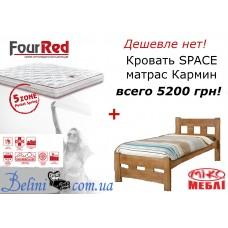 Кровать SPACE Микс Мебель с двусторонним матрасом Matroluxe Кармин 90х200